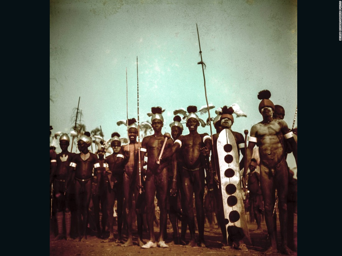Young Latuka warriors wait for the ceremony to begin,1948.