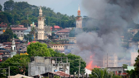 Government forces are conducting regular air strikes on ISIS positions in Marawi.