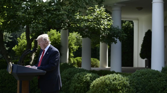 US President Donald Trump announces speaks at a press conference in the Rose Garden of the White House in Washington, DC, on June 1, 2017.