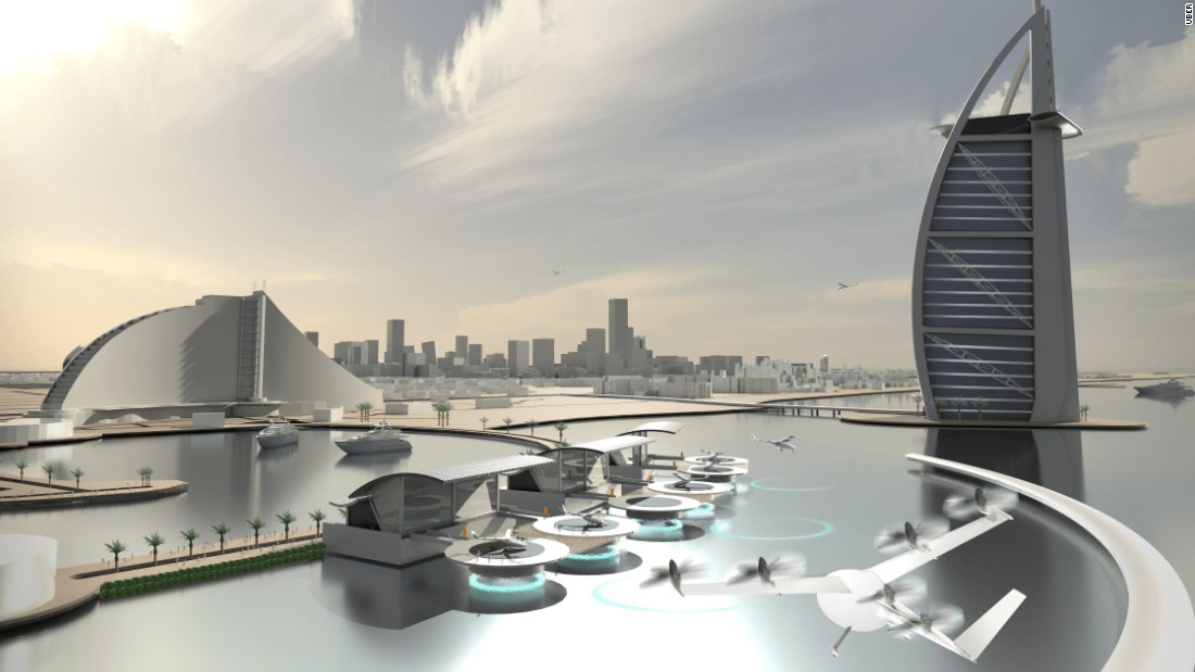Uber says its VTOLs will cut transport time dramatically, with a trip that normally takes over an hour on the ground taking just 15 minutes by VTOL.