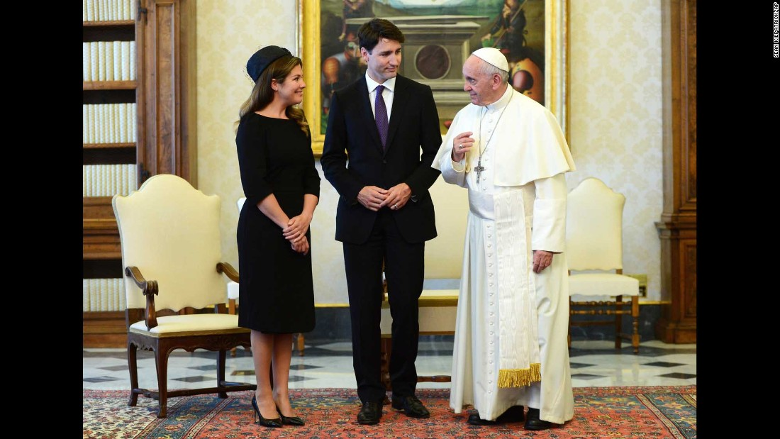 Pope Francis meets with Canadian Prime Minister Justin Trudeau and his wife, Sophie Gregoire Trudeau, at the Vatican on Monday, May 29.