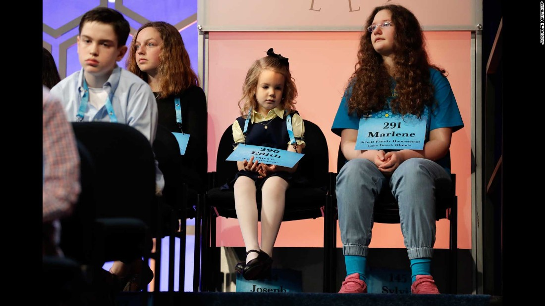 "Edith Fuller, who at 6 years old is the youngest person ever to compete in the Scripps National Spelling Bee, waits for her turn Wednesday, May 31, in Oxon Hill, Maryland. <a href=""http://www.cnn.com/2017/06/01/us/national-spelling-bee-finals-numbers/"" target=""_blank"">The Scripps National Spelling Bee: By the numbers</a>"