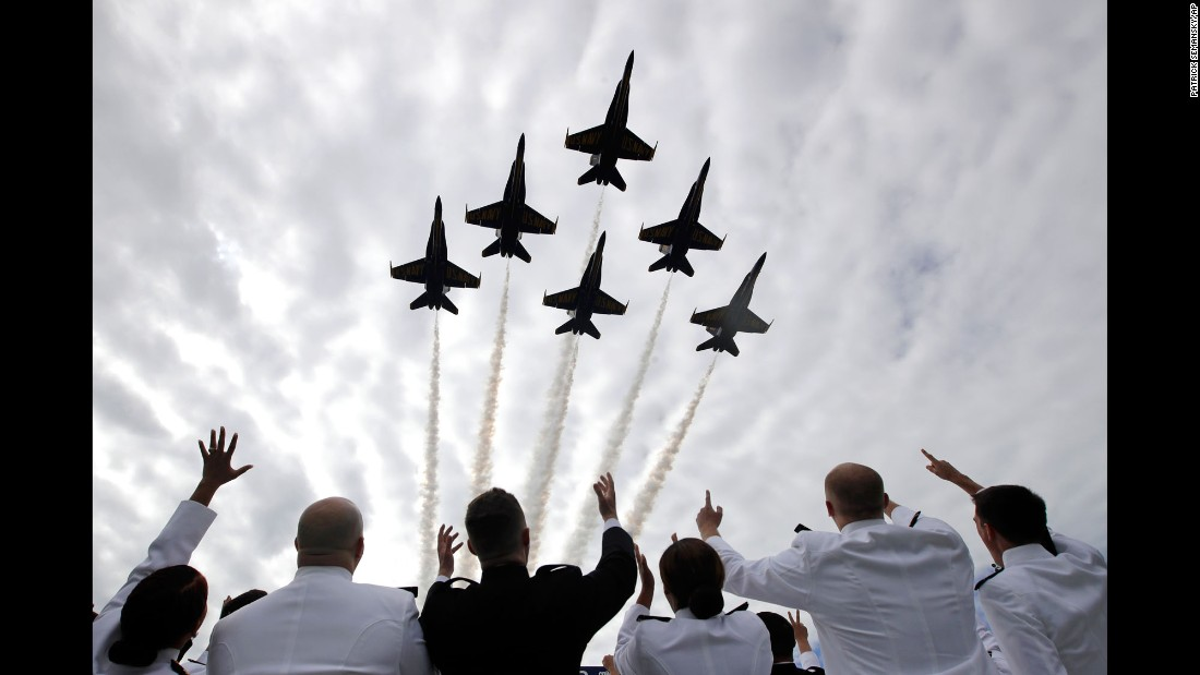 "Midshipmen watch the Blue Angels flight team during the graduation ceremony at the US Naval Academy on Friday, May 26. <a href=""http://www.cnn.com/2017/05/31/us/gallery/us-military-may-photos/index.html"" target=""_blank"">See more military photos from May</a>"