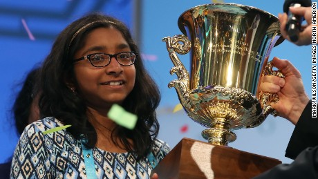 "NATIONAL HARBOR, MD - JUNE 01: Ananya Vinay of Fresno, CA. won the 2017 Scripps National Spelling Bee by spelling the word ""marocain"", at Gaylord National Resort & Convention Center June 1, 2017 in National Harbor, Maryland. Close to 300 spellers are competing in the annual spelling contest for the top honor this year.  (Photo by Mark Wilson/Getty Images)"