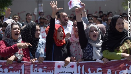 Protesters line the streets in Kabul.