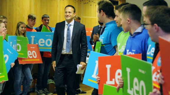 """Varadkar smiles at supporters during the launch of his leadership campaign, """"Campaign for Leo,"""" in May."""