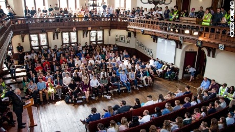 Bernie Sanders spoke to students in Cambridge Friday.