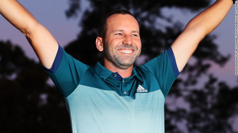 AUGUSTA, GA - APRIL 09:  Sergio Garcia of Spain celebrates during the Green Jacket ceremony after he won in a playoff during the final round of the 2017 Masters Tournament at Augusta National Golf Club on April 9, 2017 in Augusta, Georgia.  (Photo by Andrew Redington/Getty Images)