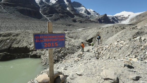 The Pasterze glacier is Austria's largest and it's shrinking rapidly: the sign on the trail indicates where the foot of the glacier reached in 2015, a year before this photo was taken. The European Environmental Agency predicts the volume of European glaciers will decline by between 22 percent and 89 percent by 2100, depending on the future intensity of greenhouse gases.