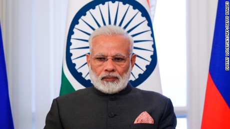 Indian Prime Minister Narendra Modi attends a signing ceremony in Saint Petersburg.