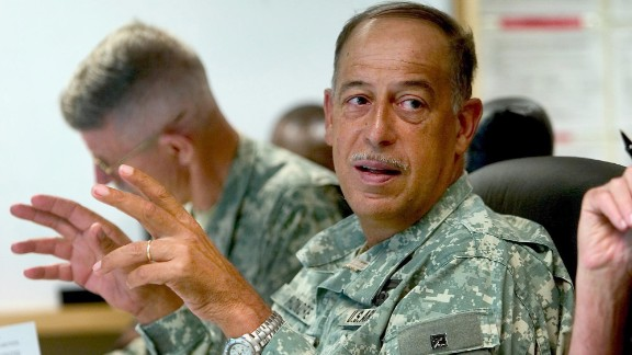 Lt. Gen. Russel L. Honoré talks to his soldiers at Camp Shelby, Mississippi, on September 8, 2005.