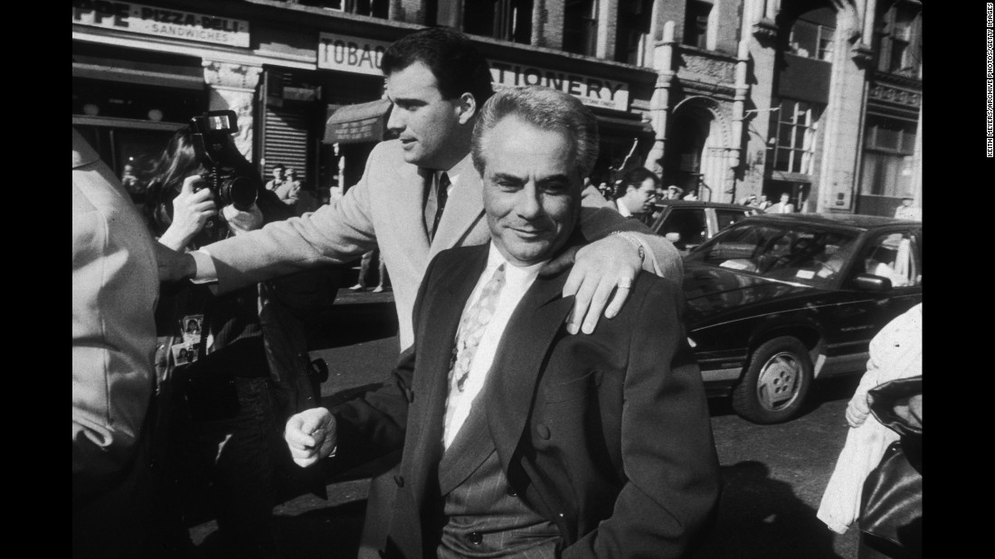 "Dubbed the ""Teflon Don"" for his ability to evade prosecution, John Gotti led the Gambino crime family for years after ordering the killing of his predecessor, Paul Castellano. The authorities finally caught up to Gotti, shown in 1990. He was later sent to prison for life after being convicted of murder, racketeering and other crimes."