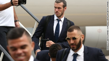 Gareth Bale of Real Madrid arrives in Cardiff prior to the Champions League final