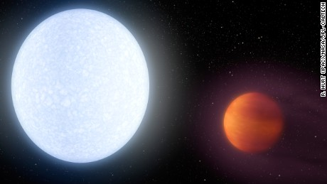 Artist conception of the KELT-9 system. The host star is a hot, rapidly rotating A-type star that is about 2.5 times more massive and almost twice as hot as our sun. The hot star blasts its nearby planet KELT-9b, which transits in front of the star once only 36 hours, with massive amounts of ultraviolet and optical radiation, leading to a dayside temperature of the tidally-locked planet of 7800 degrees Fahrenheit, hotter that most stars and only 2000 degrees cooler than the sun.