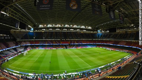 A general view shows the interior of The Principality Stadium in Cardiff