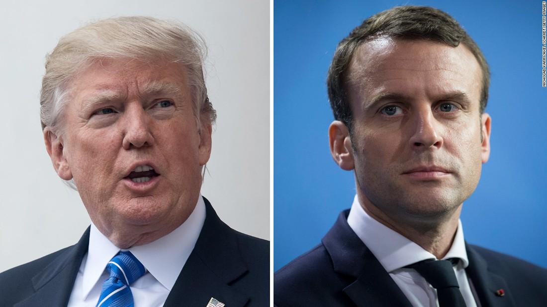 Trump spars con Macron mientras Air Force One aterriza en Francia