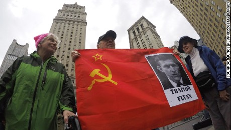 Protesters in New York call for an investigation into alleged Russian meddling in last year's US election.
