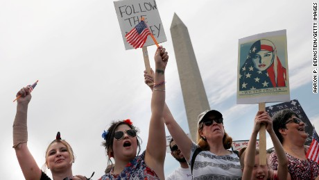 "Demonstrators near the Washington Monument during ""March for Truth"" march."