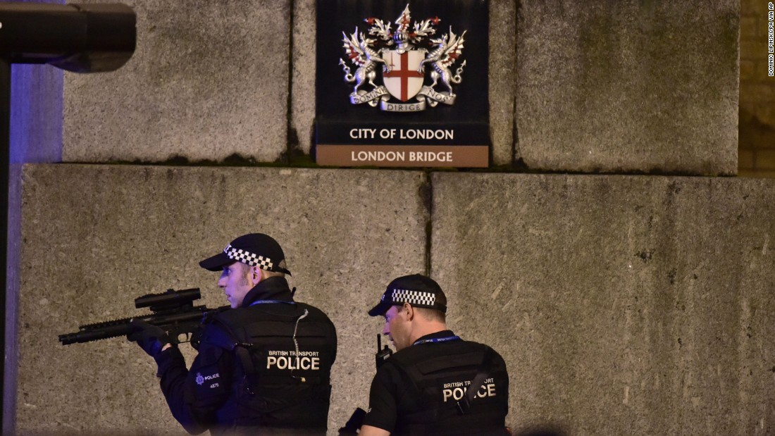 "Armed police patrol near London Bridge on Saturday, June 3. Mayor Sadiq Khan said it was a ""deliberate and cowardly attack"" on Londoners enjoying Saturday night out."