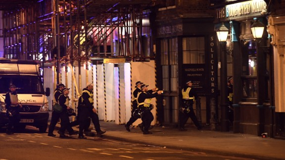 Armed police raid The Blue Eyed Maid on Borough High Street.