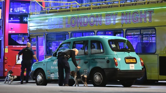 Police sniffer dogs are seen at London Bridge.