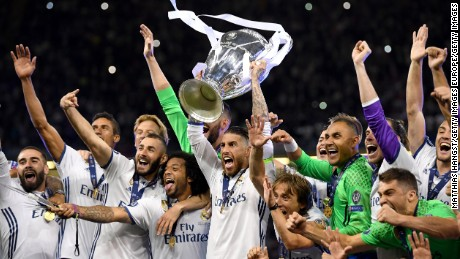 Sergio Ramos has now lifted the Champions League trophy three times in four years