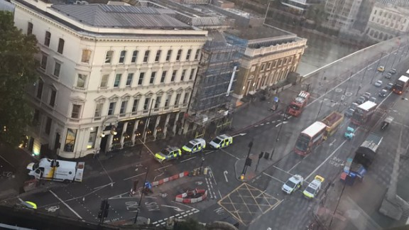 A view from above shows where a van struck pedestrians on London Bridge -- and then crashed into a barrier.