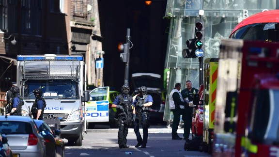Armed police outside Borough Market, London, Sunday June 4, 2017, near the scene of Saturday night