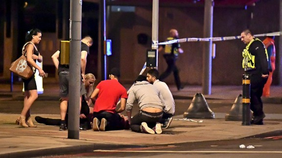 A person is treated for injuries near London Bridge.