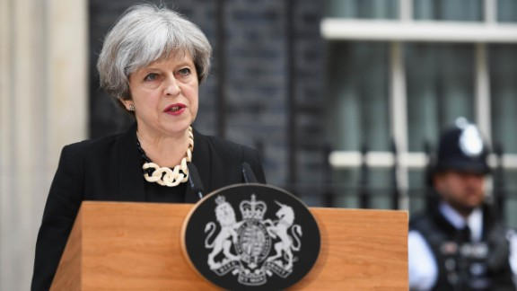 Prime Minister Theresa May makes a statement at 10 Downing Street, following a Cobra security meeting in response to Saturday night