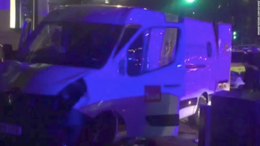 The white van used in the attack is seen near London Bridge.