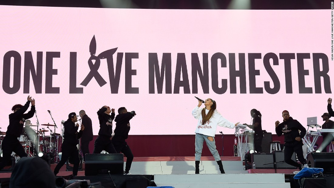 "Ariana Grande performs during the <a href=""http://www.cnn.com/2017/06/04/world/grande-benefit-concert/index.html?adkey=bn"" target=""_blank"">One Love Manchester Benefit Concert</a> at Old Trafford on Sunday, June 4, in Manchester, England. The benefit concert by Grande and other pop stars went on as planned in the UK city, which is still recovering from a suicide bombing at Grande's show there two weeks ago."