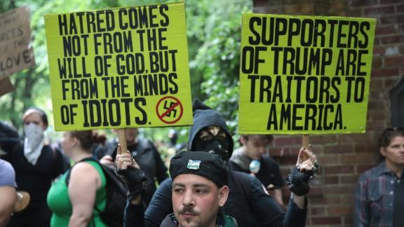 Counterprotesters interrupt a pro-Trump rally in Portland on Sunday.