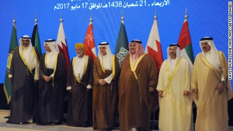 (From L to R) Kuwait's Foreign Minister Sheikh Sabah al-Khaled al-Sabah, Qatar's Foreign Minister Mohammed bin Abdulrahman bin Jassim al-Thani, Oman's Foreign Minister Yusuf bin Alawi, Saudi Arabia's Foreign Minister Adel al-Jubeir, Bahrain's Foreign Minister Khalid bin Ahmed al-Khalifa, UAE Minister of State for Foreign Affairs Anwar Gargash and GCC Secretary General Abdul Latif Bin Rashid al-Zayani pose for a group picture  during a meeting of the Gulf foreign ministers in the Saudi capital Riyadh, on May 17, 2017, a few days ahead of the Gulf Cooperation Council (GCC) summit. The summit will be one of three forums held during a visit by US President Donald Trump, who is making Saudi Arabia his first overseas stop since assuming office in January. / AFP PHOTO / FAYEZ NURELDINE        (Photo credit should read FAYEZ NURELDINE/AFP/Getty Images)