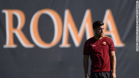 AS Roma's Dutch midfielder Kevin Strootman is pictured in training.
