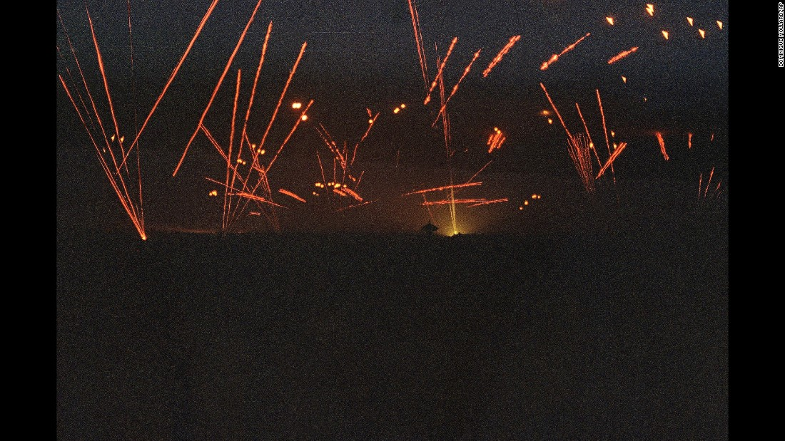 "Iraqi anti-aircraft fire lights up the sky over Baghdad on January 18, 1991, as US and allied forces launch aerial attacks on the city. The Gulf War was a pivotal event for the Middle East,  and also for an <a href=""http://www.cnn.com/2016/01/19/middleeast/operation-desert-storm-25-years-later/index.html"">upstart news network called CNN,</a> which brought live 24-hour coverage from the front lines of the conflict to American audiences."