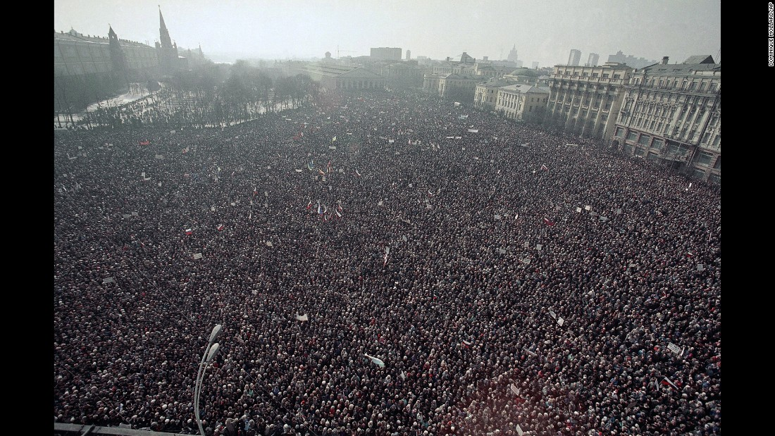 An estimated 500,000 protesters descended on Moscow's Manezh Square on March 19, 1991, to demand that Soviet President Mikhail Gorbachev and his Communist government relinquish power. By the end of the year, their demonstrations succeeded: The Soviet Union officially dissolved in December 1991.