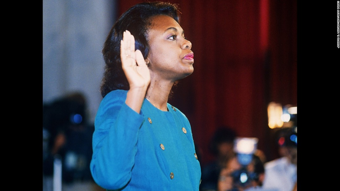 "On October 12, 1991, law professor Anita Hill testified before the Senate Judiciary Committee that then-Supreme Court nominee <a href=""http://www.cnn.com/2013/03/07/us/clarence-thomas-fast-facts/index.html"">Clarence Thomas</a> had sexually harassed her when she worked for Thomas at two federal agencies. Millions of Americans tuned in to watch the hearings, which saw Thomas confirmed by a 52-48 vote."