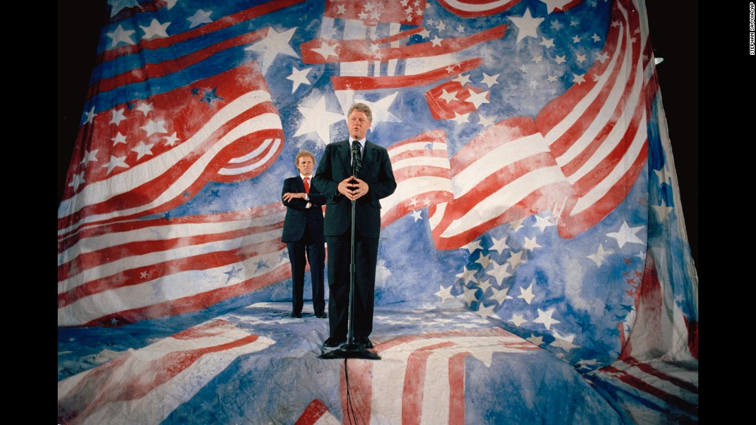 "In front of former Democratic US Rep. Joseph Kennedy and a very '90s American flag, then-Democratic presidential hopeful <a href=""http://www.cnn.com/2013/02/01/us/bill-clinton-fast-facts/index.html"">Bill Clinton</a> speaks at a campaign event on April 28, 1992. After surviving a competitive Democratic primary, Clinton defeated incumbent <a href=""http://www.cnn.com/2012/12/14/us/george-h-w-bush---fast-facts/index.html"">President George H.W. Bush</a> in the 1992 election to become the 42nd president of the United States."
