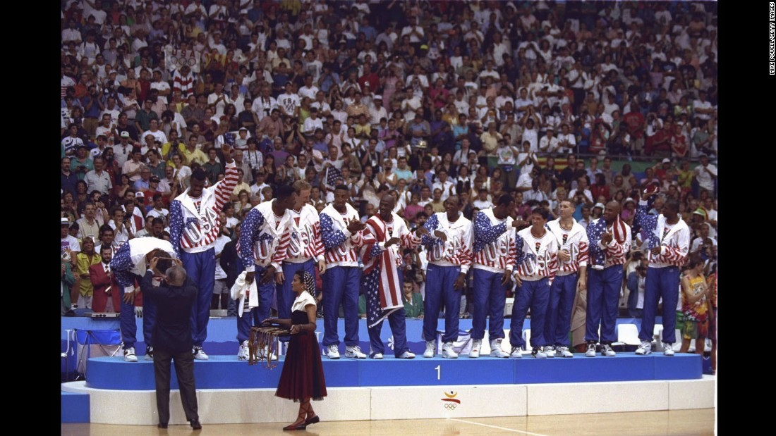 "Will we ever see a team so stacked with star power again? Considered by many the greatest sports team ever assembled, the 1992 US men's basketball team featured all-time greats Michael Jordan, Larry Bird, Magic Johnson and Charles Barkley, among other Hall of Famers. Here, the ""Dream Team"" members receive their gold medals after defeating Croatia 117-85 at the 1992 Summer Olympic Games in Barcelona, Spain."