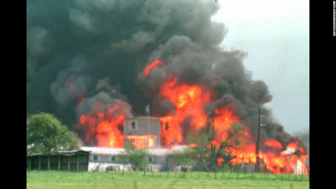 After a 51-day standoff between federal agents and members of the Branch Davidian religious group, federal authorities raided the Waco, Texas, compound where authorities said the group's leader, David Koresh, and his followers were stockpiling weapons. This April 19, 1993, photo shows the massive fire that resulted from the siege, which killed dozens of Branch Davidians and led to criticism of the government's handling of the situation.