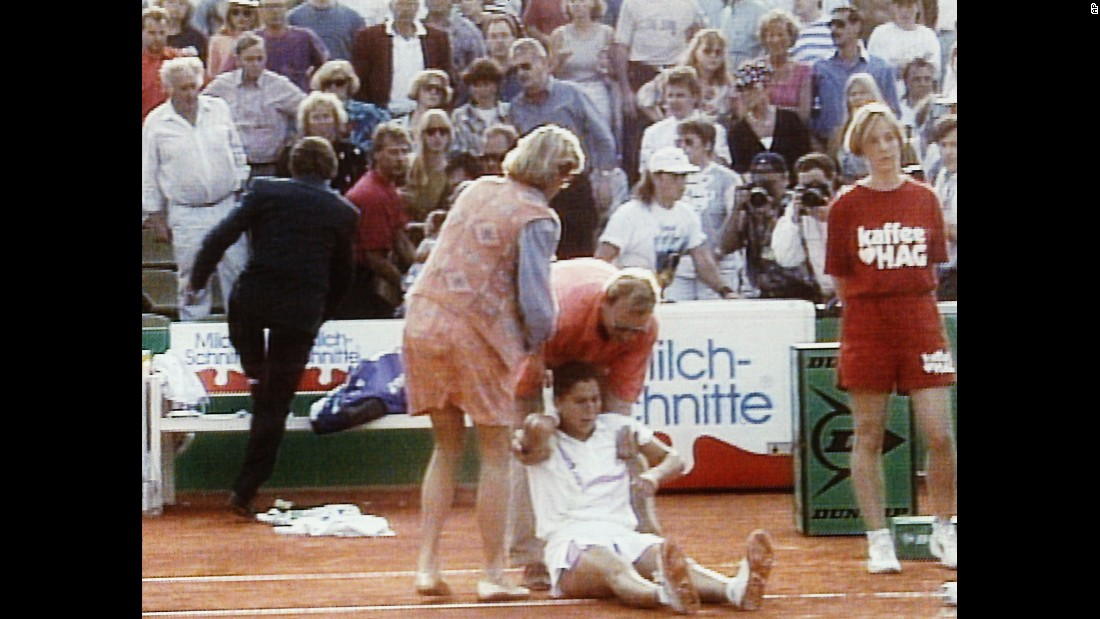 "Then the world's top-ranked tennis player, Monica Seles was taking a water break during a match on April 30, 1993, in Hamburg, Germany, when a spectator leaned from the stands and plunged a knife into her back. Seles, shown shortly after the stabbing, was taken to a hospital and eventually made a full recovery, but the incident <a href=""http://edition.cnn.com/2013/06/11/sport/tennis/monica-seles-novel-tennis/index.html"">caused her to step away from tennis for more than two years.</a>"