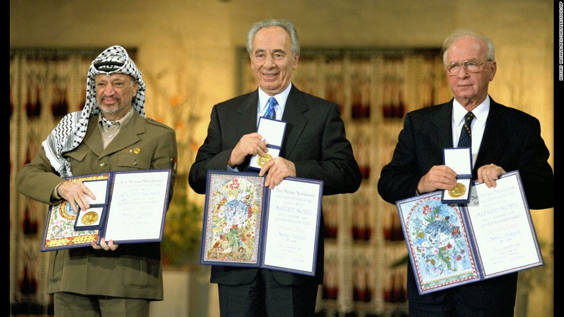 "For their roles in negotiating and signing the <a href=""http://www.cnn.com/2013/09/03/world/meast/oslo-accords-fast-facts/index.html"">Oslo Accords</a>, Palestinian leader Yasser Arafat, left, Israeli Foreign Minister Shimon Peres, center and Israeli Prime Minister Yitzhak Rabin received the 1994 Nobel Peace Prize. But the peace outlined in the accords didn't last. In 2000, riots and suicide attacks brought an end to the negotiations."