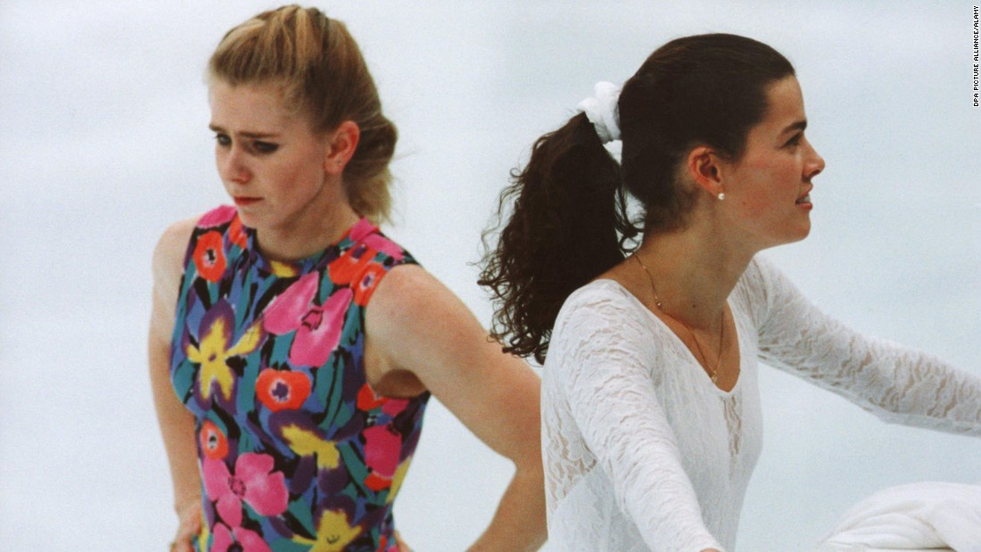 Before the 1994 Lillehammer Winter Olympics, figure skater Nancy Kerrigan, right, was injured by a man connected to her rival, fellow US figure skater Tonya Harding, left, sparking one of the biggest scandals in sports history. This made for some awkward practice sessions at the Olympics, like the one shown here in Lillehammer on February 17, 1994. Kerrigan won a silver medal at the Olympics, while Harding placed eighth and was later banned for life from the sport.