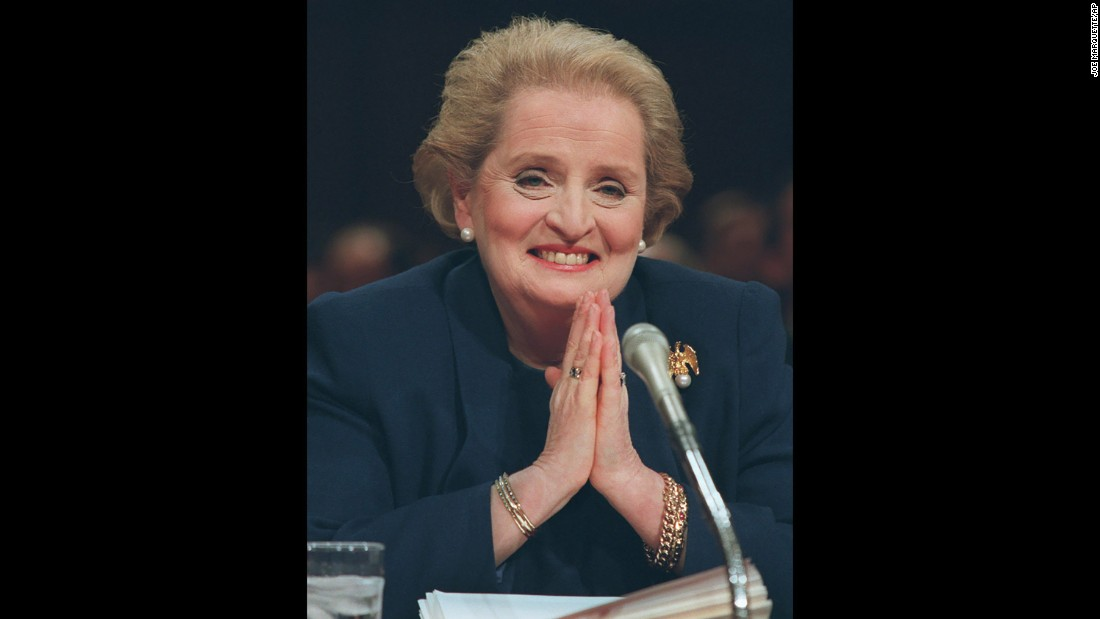Madeleine Albright -- shown testifying on Capitol Hill on January 8, 1997, at a Senate hearing -- served as the US ambassador to the United Nations, before she was unanimously confirmed as the country's first female secretary of state.