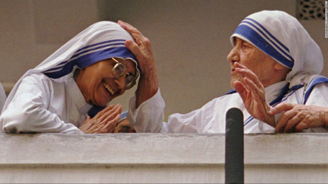 "Known as the ""saint of the gutters"" for dedicating her life to helping the poor, Mother Teresa, right, is shown blessing her successor, Sister Nirmala. Mother Teresa was awarded the 1979 Nobel Peace Prize and was <a href=""http://www.cnn.com/2016/09/04/europe/mother-teresa-canonization/index.html"">declared a saint by Pope Francis in 2016</a>. Just months after this photo was taken, Mother Teresa died on September 5, 1997."