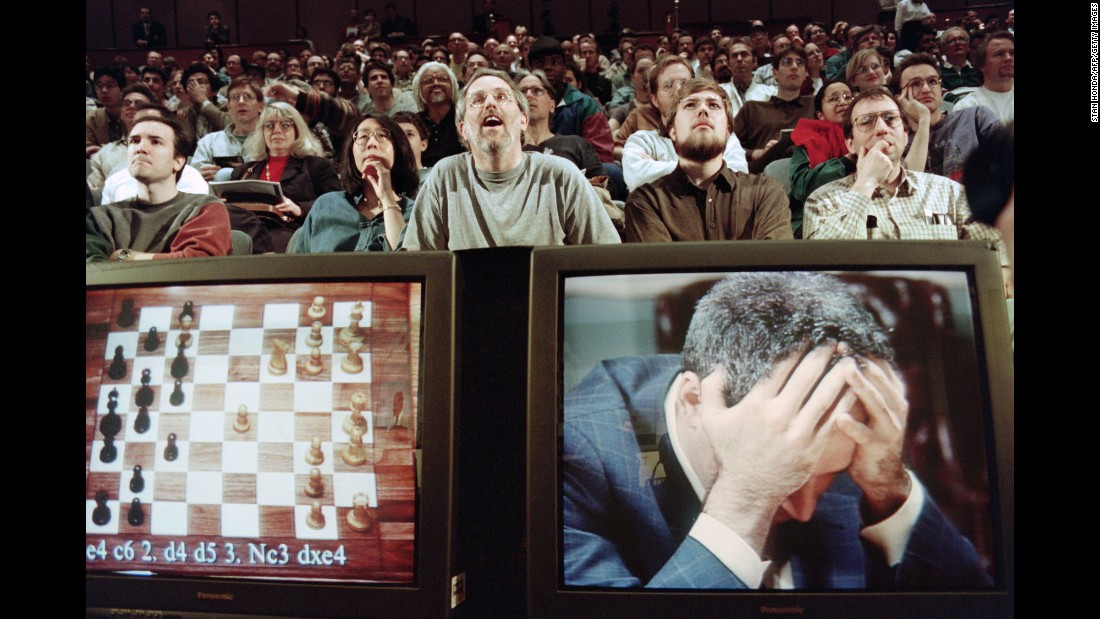 Though considered by many to be the greatest human chess player of all-time, Garry Kasparov found he was no match for his machine rival: IBM's Deep Blue supercomputer. As fans looked on, Kasparov holds his head in his hands at the start of his final match on May 11, 1997, which he lost in 19 moves to give Deep Blue victory in the six-match series.
