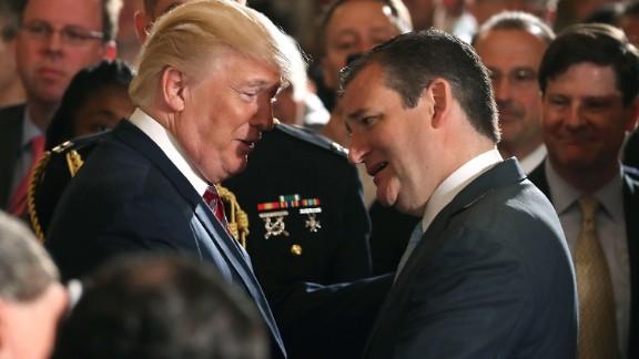 WASHINGTON, DC: U.S. President Donald Trump talks with Sen. Ted Cruz (R-TX) during an event regarding the modernization the nation