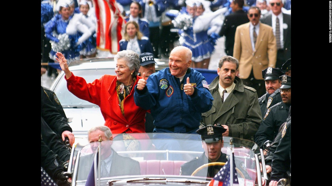 "More than 36 years after becoming the first American to orbit the Earth, in 1998 <a href=""http://www.cnn.com/2013/01/17/us/john-glenn-fast-facts/index.html"">John Glenn</a> made his historic return to outer space as a crew member on the space shuttle Discovery. When Discovery launched on October 29, 1998, Glenn was 77 years old and still a sitting US senator, making him the oldest human to travel into space. Glenn, who died in 2016, is shown with his wife and other members of the crew during a ticker-tape parade in their honor on November 16, 1998, in New York."
