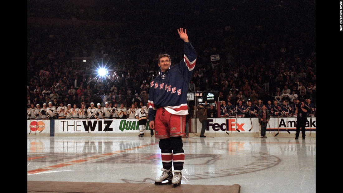 After 20 years in the National Hockey League, Wayne Gretzky laced up his skates for the last time on April 18, 1999, in a game that his Rangers lost 2-1 in overtime to the Pittsburgh Penguins. Gretzky stepped away as the league's all-time leader in points with 2,857, and his number 99 jersey is the only number that has been retired league-wide by the NHL.